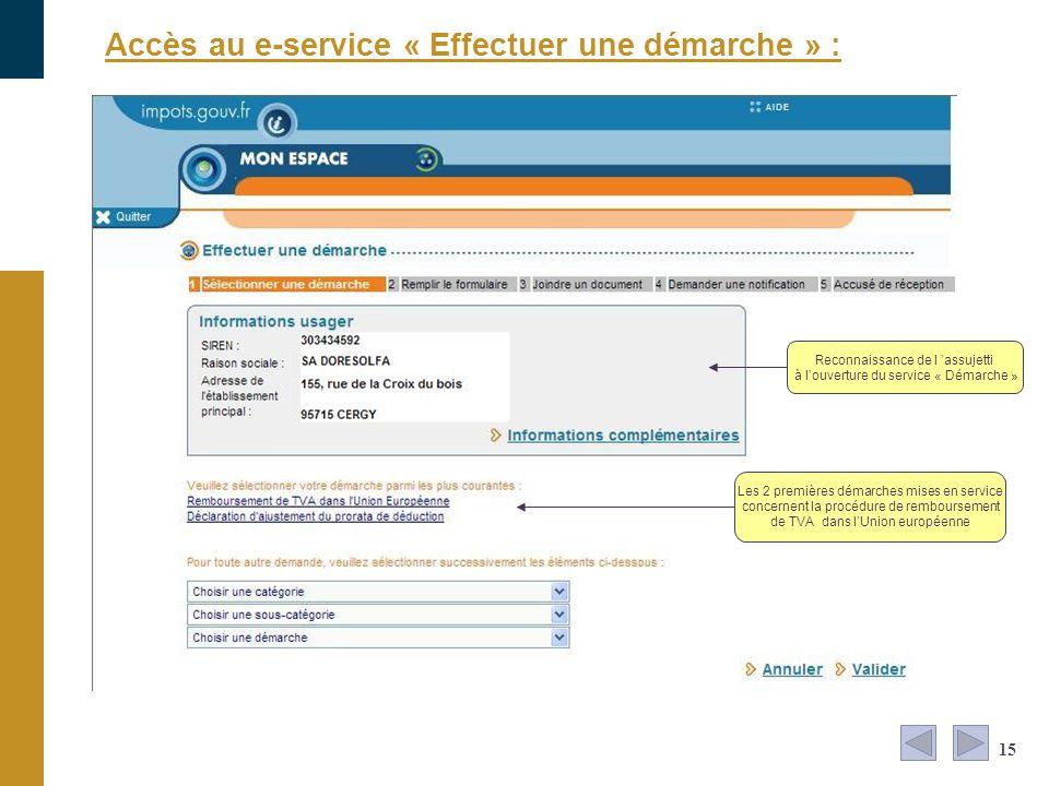 Accès au e-service « Effectuer une démarche » :