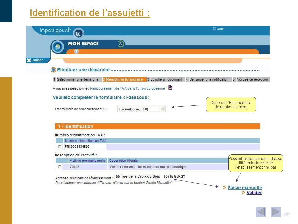 Identification de l'assujetti :