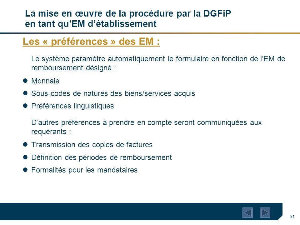 Les « préférences » des EM :