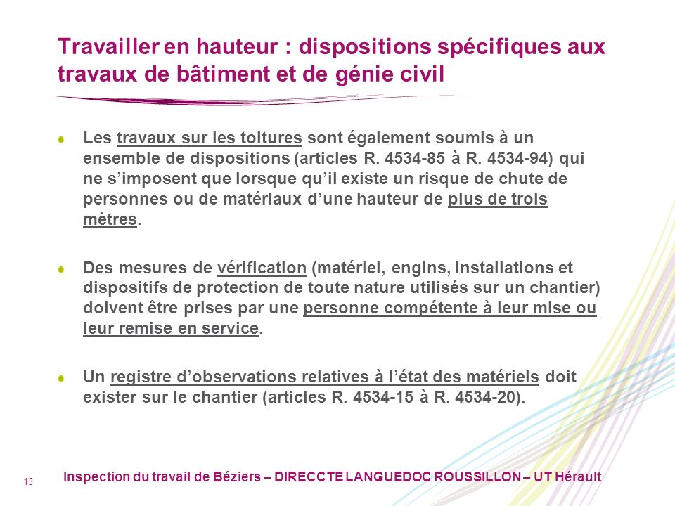 Travailler en hauteur : dispositions spécifiques aux travaux de bâtiment et de génie civil