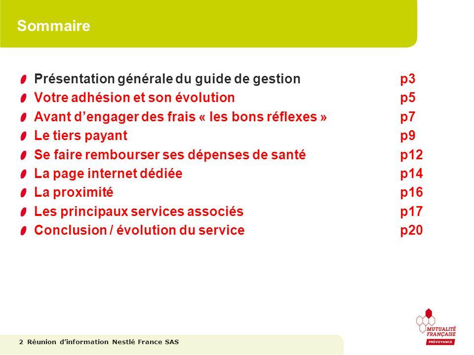 Sommaire Présentation générale du guide de gestion p3
