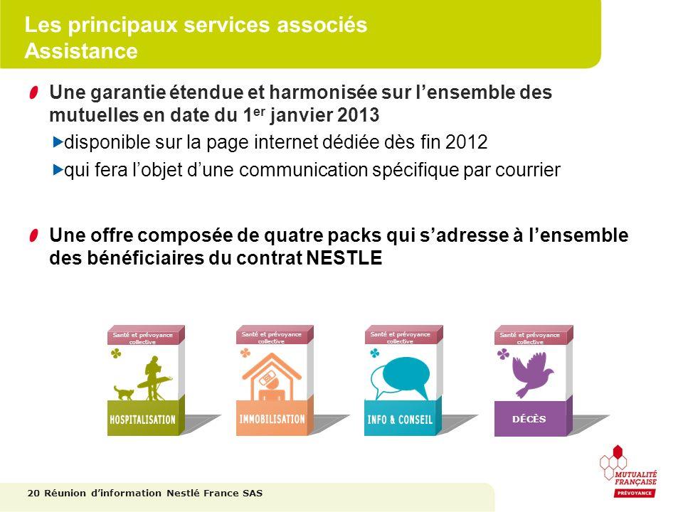 Les principaux services associés Assistance