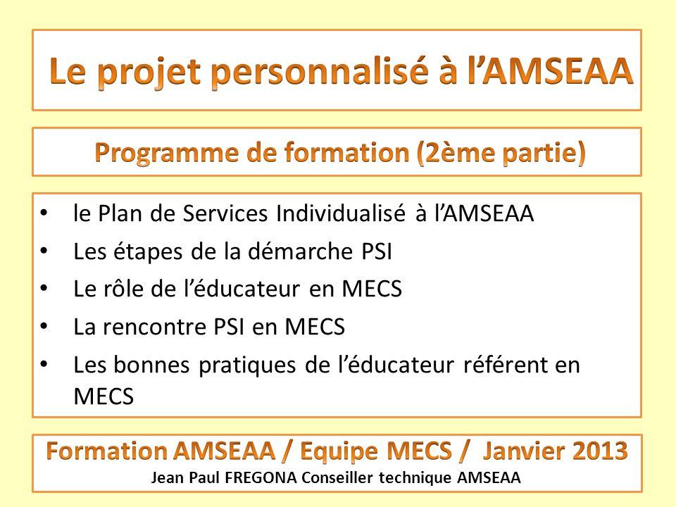 Le projet personnalisé à l'AMSEAA
