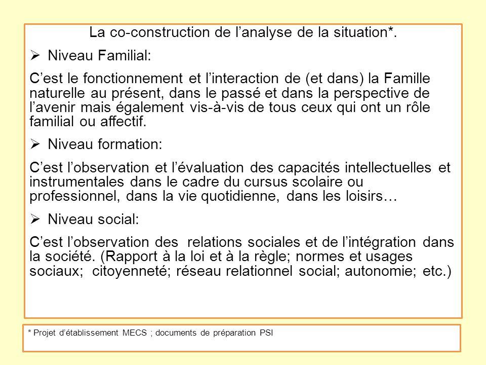 La co-construction de l'analyse de la situation*.