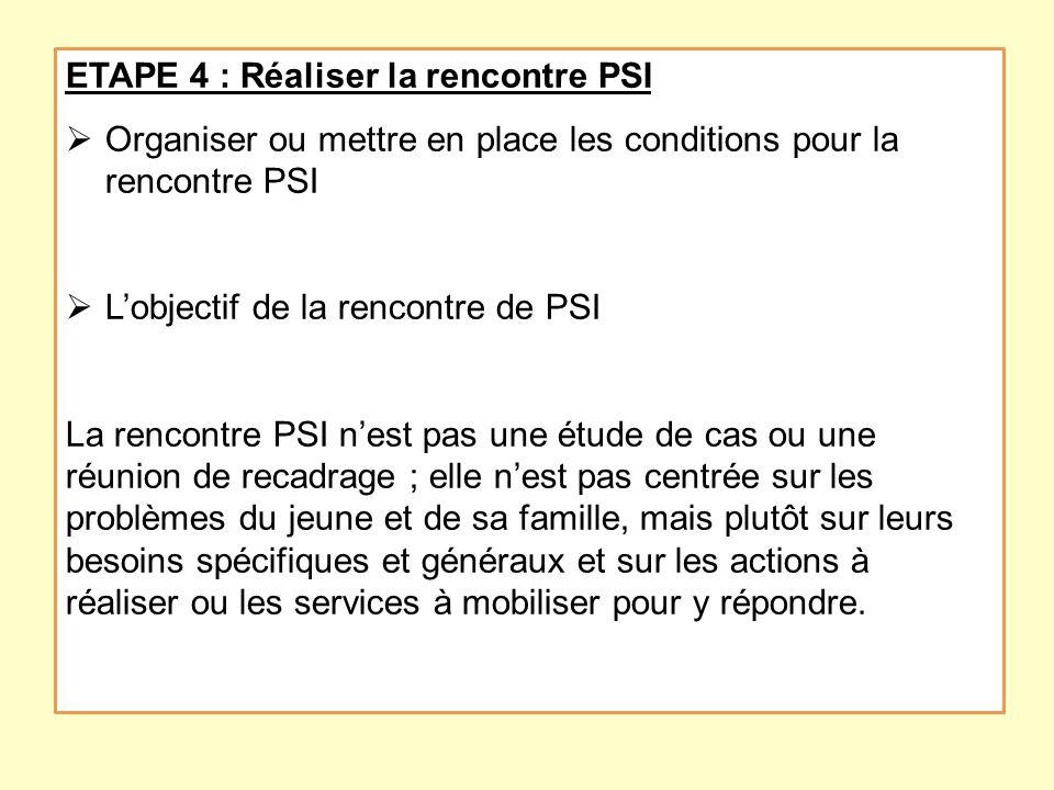 ETAPE 4 : Réaliser la rencontre PSI