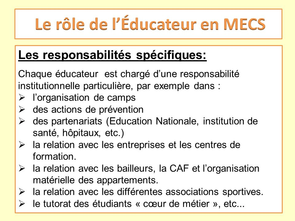 Le rôle de l'Éducateur en MECS