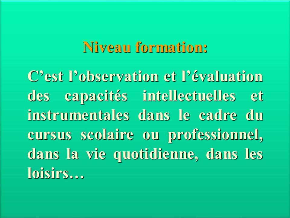 Janvier 2013 Niveau formation: