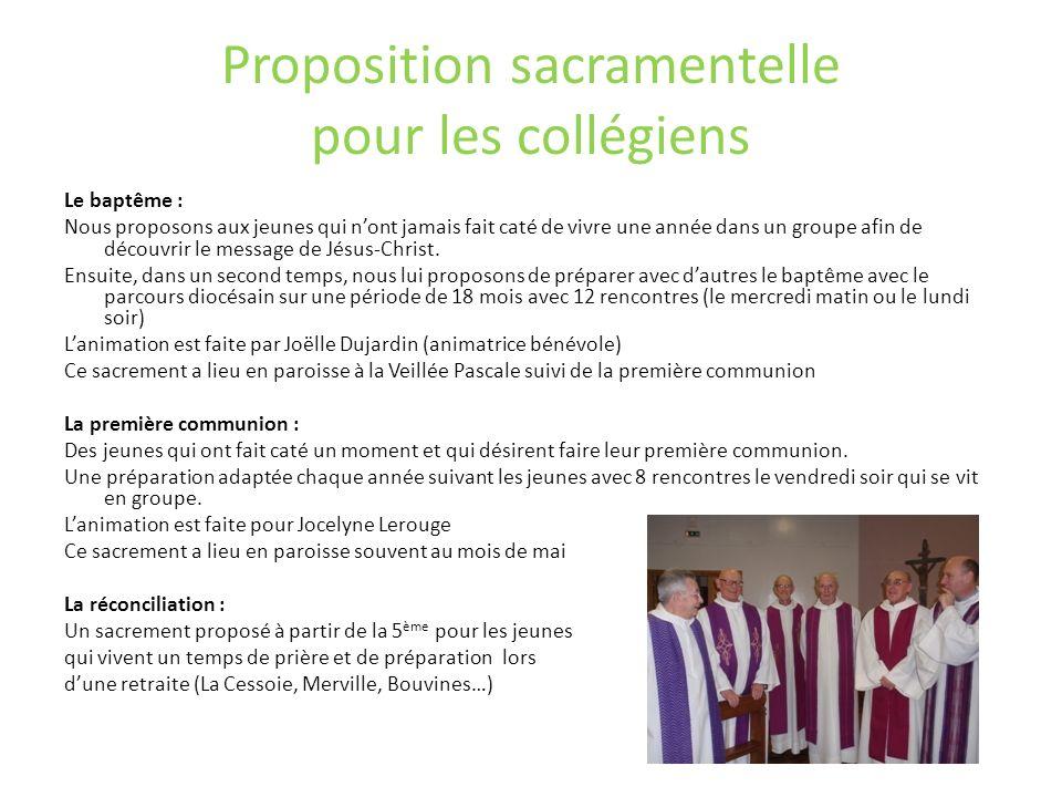 Proposition sacramentelle pour les collégiens
