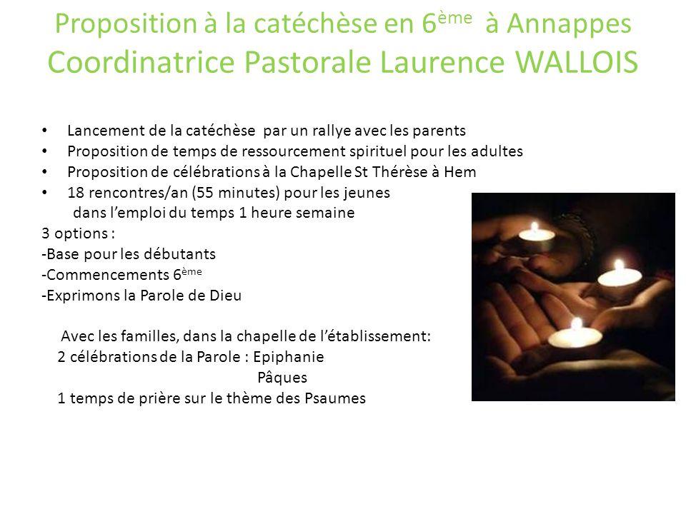 Proposition à la catéchèse en 6ème à Annappes Coordinatrice Pastorale Laurence WALLOIS