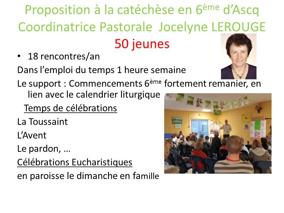Proposition à la catéchèse en 6ème d'Ascq Coordinatrice Pastorale Jocelyne LEROUGE 50 jeunes