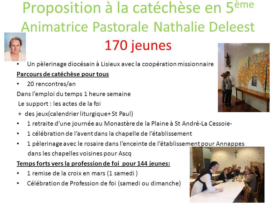 Proposition à la catéchèse en 5ème Animatrice Pastorale Nathalie Deleest 170 jeunes