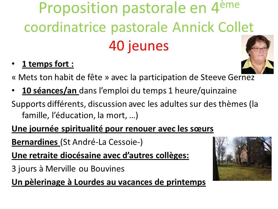 Proposition pastorale en 4ème coordinatrice pastorale Annick Collet 40 jeunes