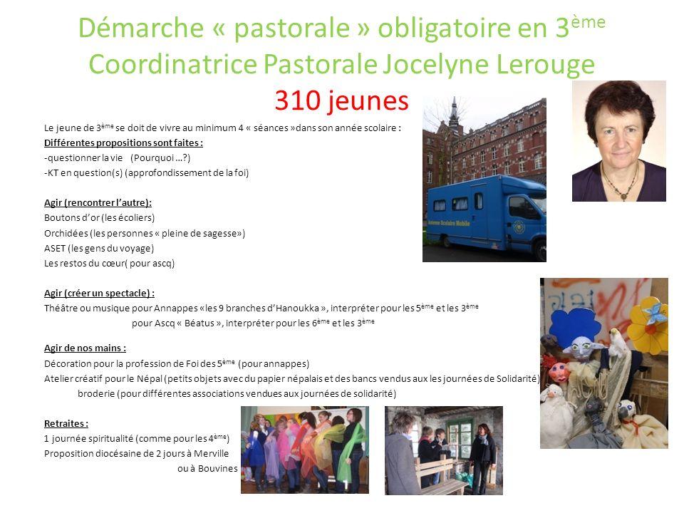 Démarche « pastorale » obligatoire en 3ème Coordinatrice Pastorale Jocelyne Lerouge 310 jeunes