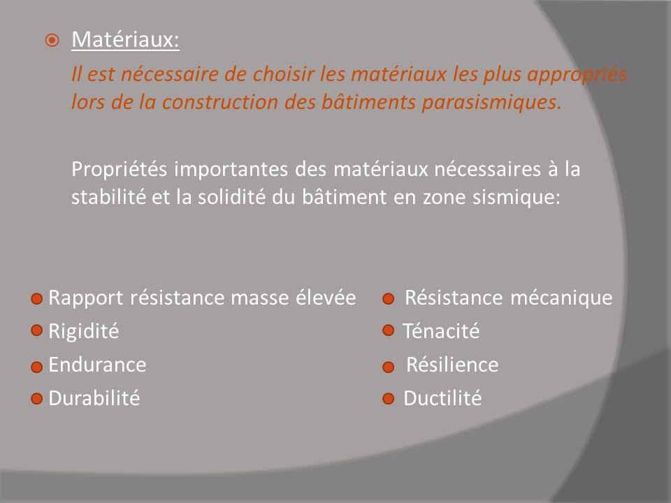 Matériaux: Il est nécessaire de choisir les matériaux les plus appropriés lors de la construction des bâtiments parasismiques.