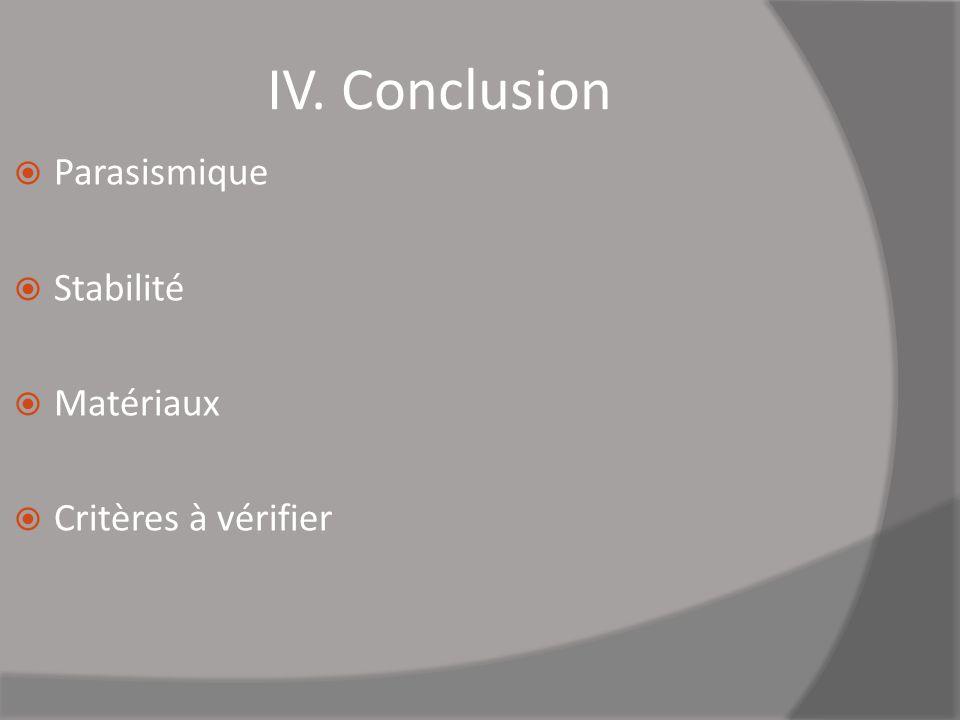 IV. Conclusion Parasismique Stabilité Matériaux Critères à vérifier