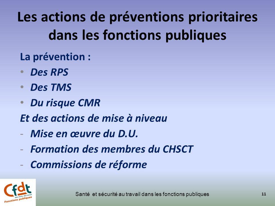 Les actions de préventions prioritaires dans les fonctions publiques