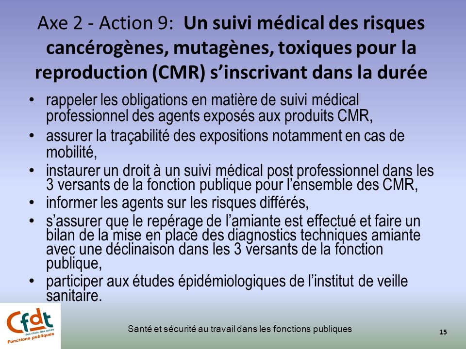 Axe 2 - Action 9: Un suivi médical des risques cancérogènes, mutagènes, toxiques pour la reproduction (CMR) s'inscrivant dans la durée