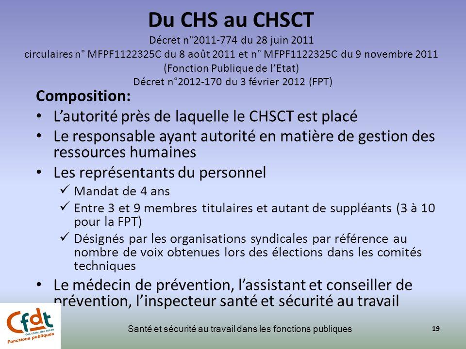 Du CHS au CHSCT Décret n°2011-774 du 28 juin 2011 circulaires n° MFPF1122325C du 8 août 2011 et n° MFPF1122325C du 9 novembre 2011 (Fonction Publique de l'Etat) Décret n°2012-170 du 3 février 2012 (FPT)