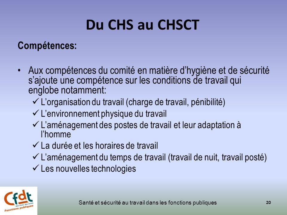 Du CHS au CHSCT Compétences:
