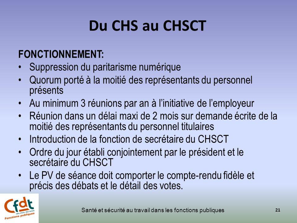 Du CHS au CHSCT FONCTIONNEMENT: Suppression du paritarisme numérique