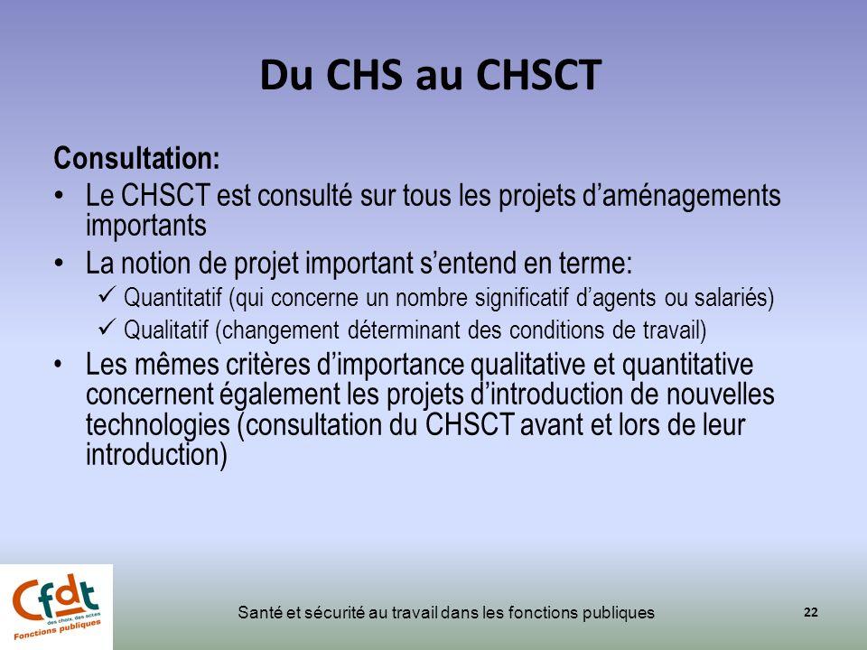 Du CHS au CHSCT Consultation: