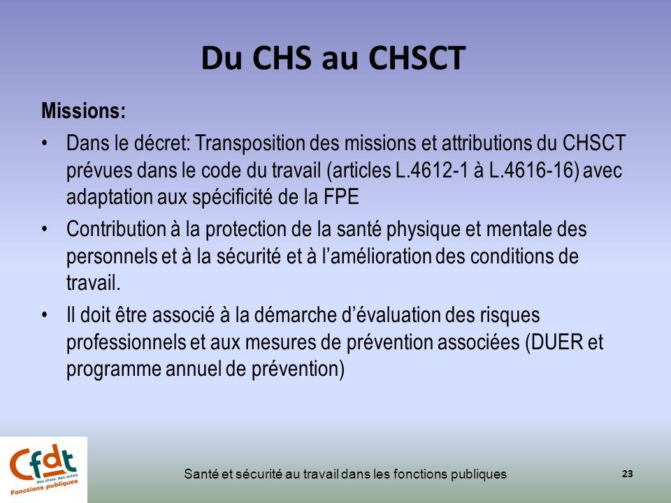 Du CHS au CHSCT Missions:
