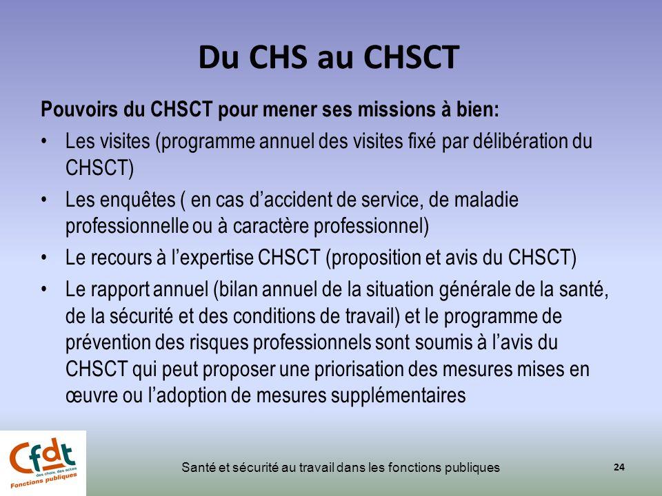 Du CHS au CHSCT Pouvoirs du CHSCT pour mener ses missions à bien: