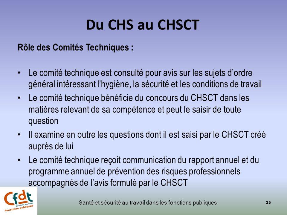 Du CHS au CHSCT Rôle des Comités Techniques :