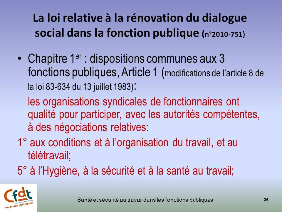 La loi relative à la rénovation du dialogue social dans la fonction publique (n°2010-751)