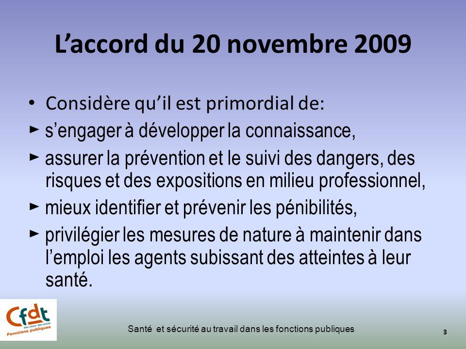 L'accord du 20 novembre 2009 Considère qu'il est primordial de: