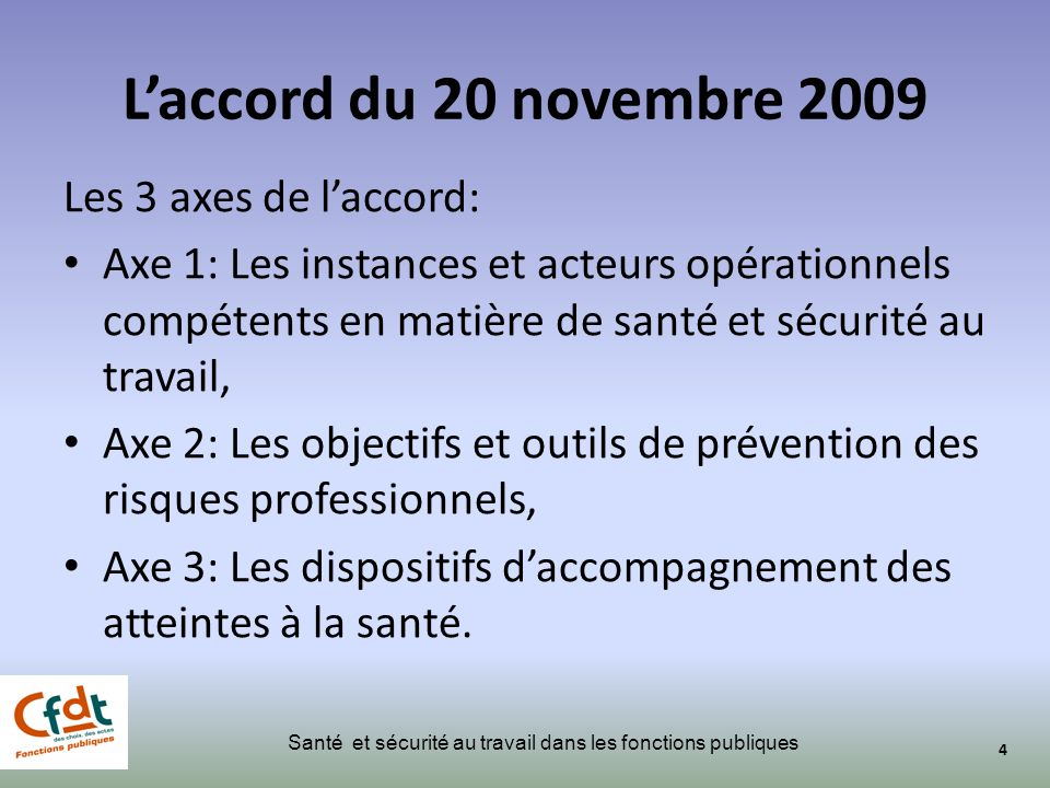 L'accord du 20 novembre 2009 Les 3 axes de l'accord: