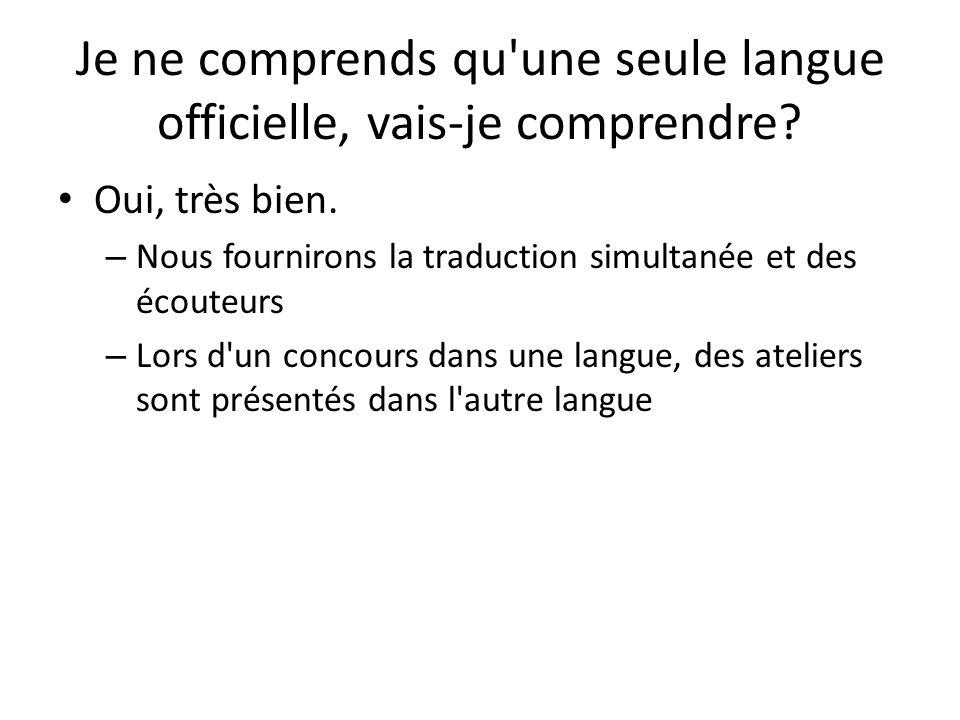 Je ne comprends qu une seule langue officielle, vais-je comprendre
