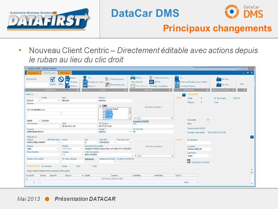 DataCar DMS Principaux changements