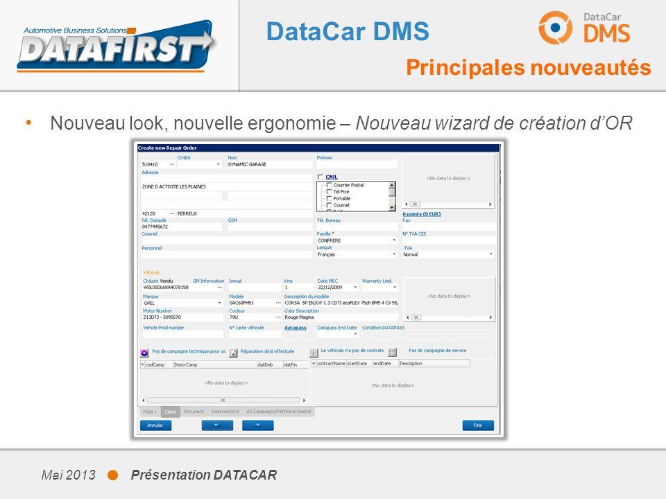 DataCar DMS Principales nouveautés