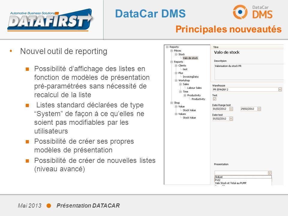 DataCar DMS Principales nouveautés Nouvel outil de reporting
