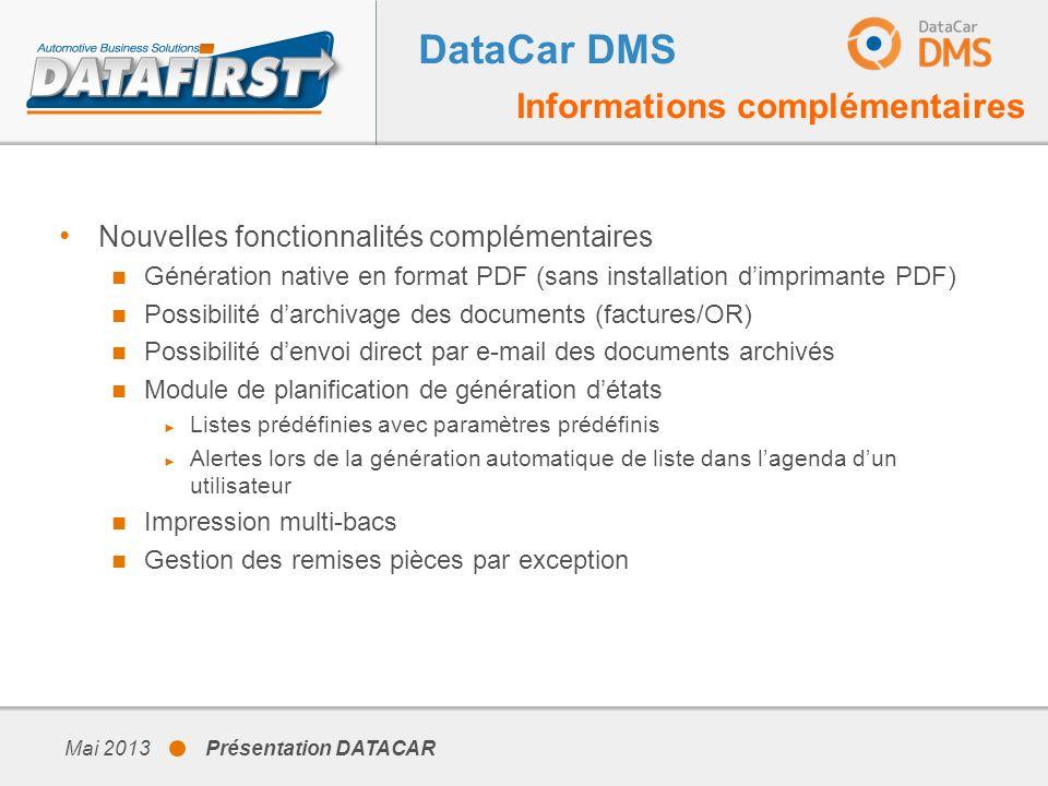 DataCar DMS Informations complémentaires