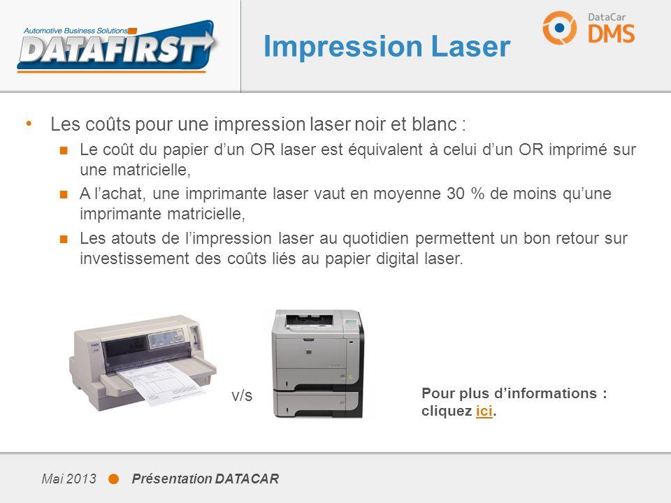 Impression Laser Les coûts pour une impression laser noir et blanc :