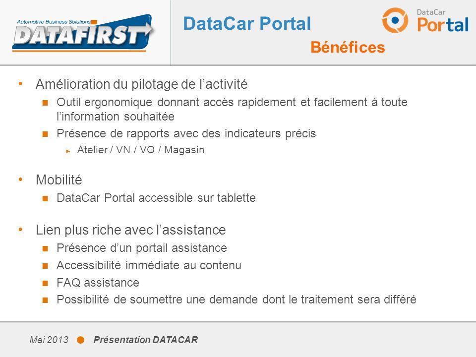 DataCar Portal Bénéfices Amélioration du pilotage de l'activité