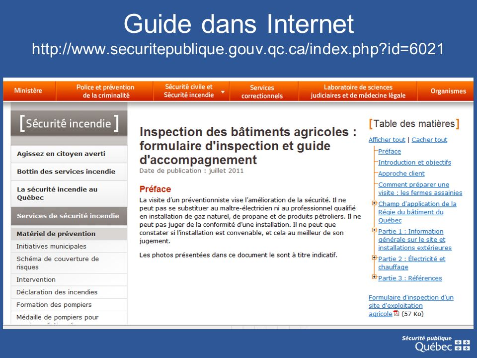 Guide dans Internet http://www. securitepublique. gouv. qc. ca/index