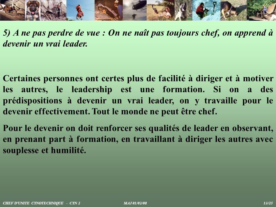 5) A ne pas perdre de vue : On ne naît pas toujours chef, on apprend à devenir un vrai leader.