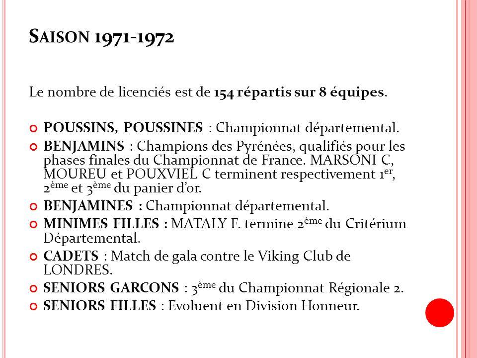 Saison 1971-1972 Le nombre de licenciés est de 154 répartis sur 8 équipes. POUSSINS, POUSSINES : Championnat départemental.