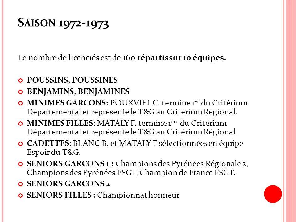 Saison 1972-1973 Le nombre de licenciés est de 160 répartis sur 10 équipes. POUSSINS, POUSSINES. BENJAMINS, BENJAMINES.