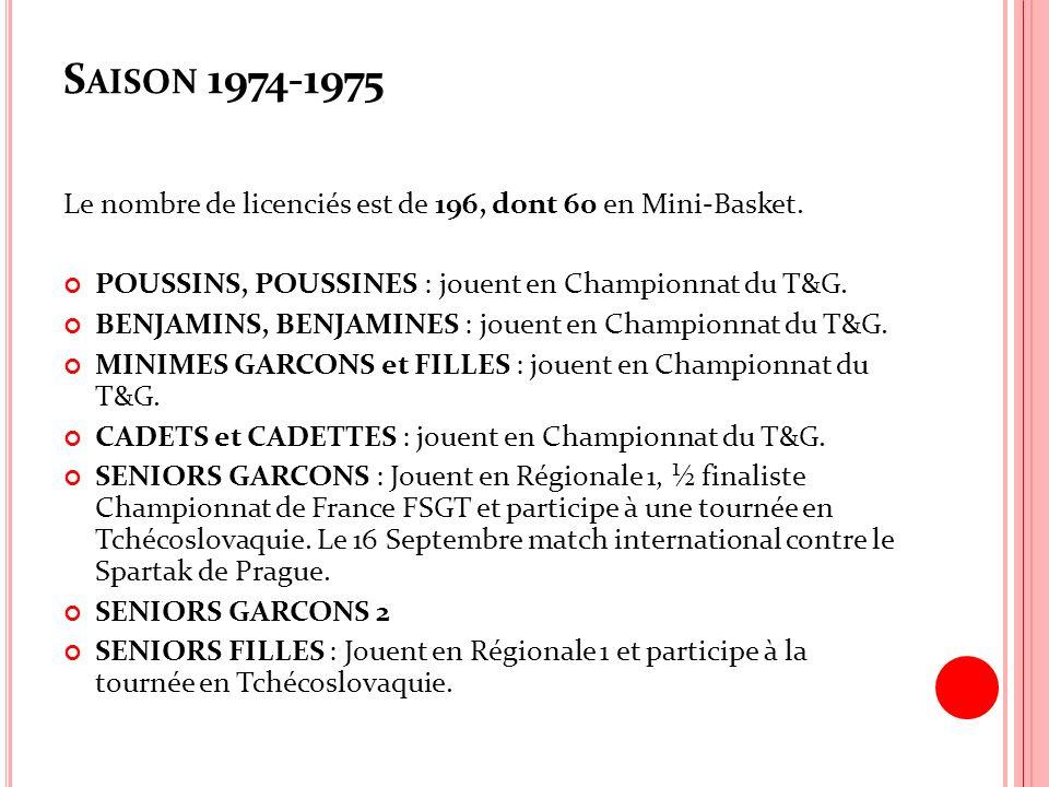 Saison 1974-1975 Le nombre de licenciés est de 196, dont 60 en Mini-Basket. POUSSINS, POUSSINES : jouent en Championnat du T&G.