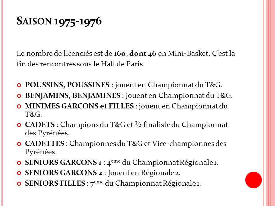 Saison 1975-1976 Le nombre de licenciés est de 160, dont 46 en Mini-Basket. C'est la. fin des rencontres sous le Hall de Paris.