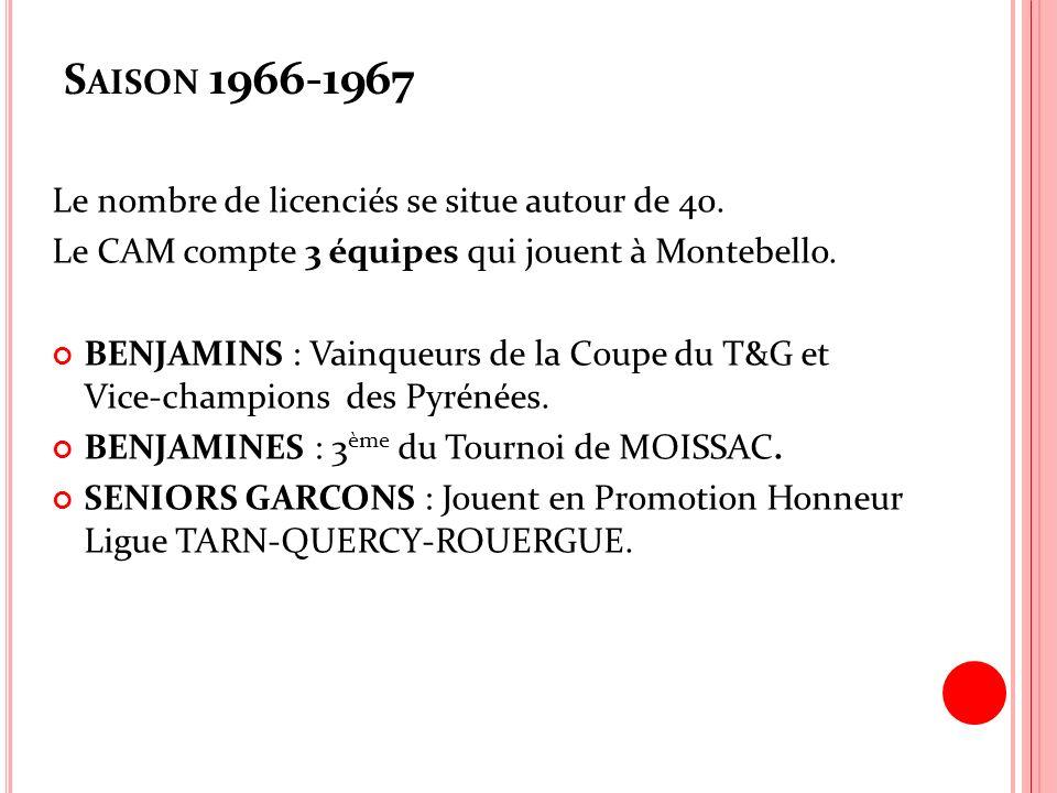 Saison 1966-1967 Le nombre de licenciés se situe autour de 40.