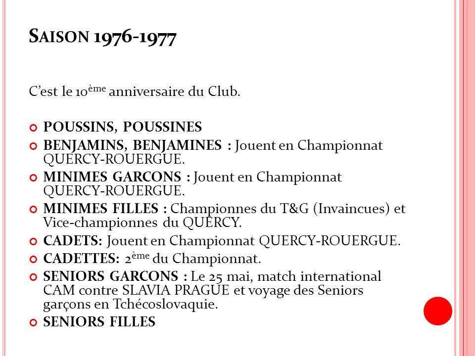 Saison 1976-1977 C'est le 10ème anniversaire du Club.