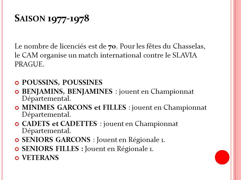 Saison 1977-1978 Le nombre de licenciés est de 70. Pour les fêtes du Chasselas, le CAM organise un match international contre le SLAVIA.