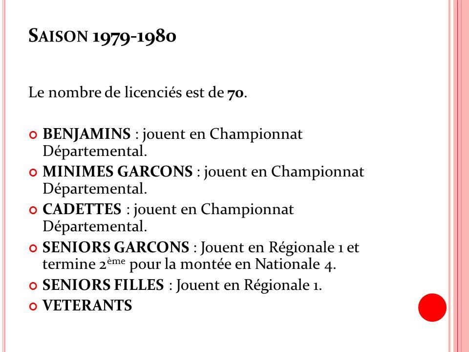Saison 1979-1980 Le nombre de licenciés est de 70.