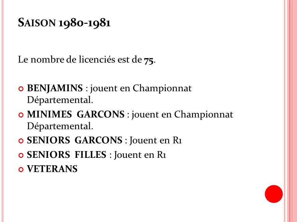 Saison 1980-1981 Le nombre de licenciés est de 75.
