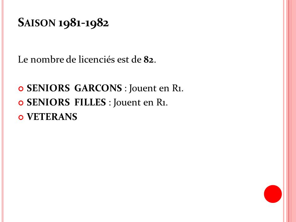Saison 1981-1982 Le nombre de licenciés est de 82.